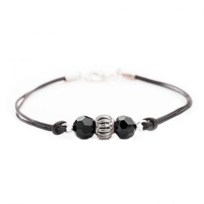Black Beads and leather bracelet