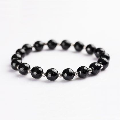 black faceted onyx beads bracelet for women