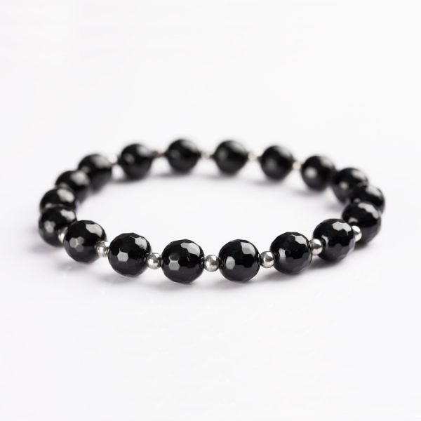 black faceted onyx beads bracelet for women