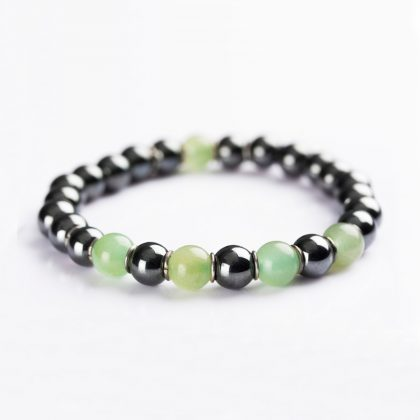 green and grey beads bracelet for men