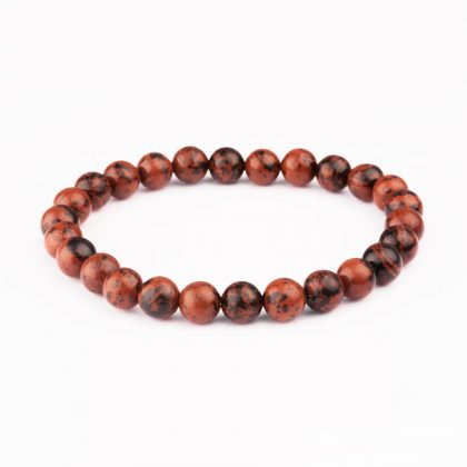 Handmade bracelet made of brown Mahogany Obsidian stone beads