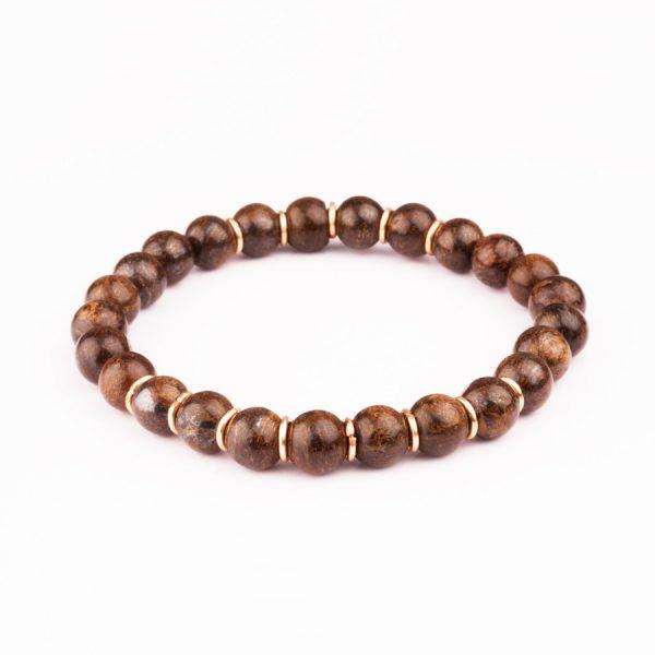 handmade brown Bronzite Stone Bracelet for men