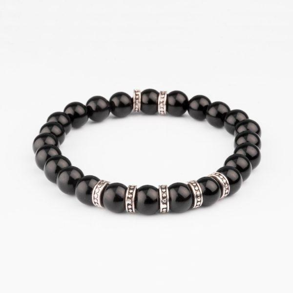 Black mate onix beeds bracelet handmade