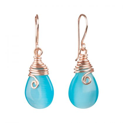 blue drop earrings with gold filled wire
