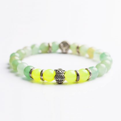 green beads men bracelet with steel owl