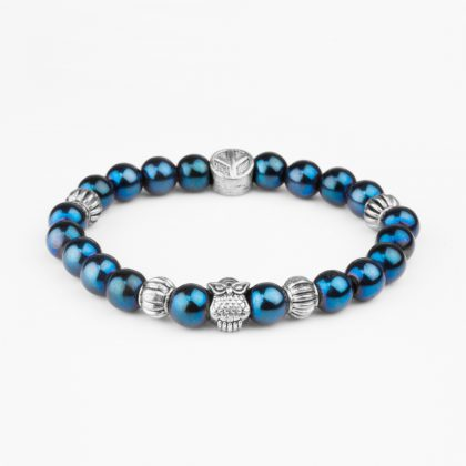 blue beeds bracelet for men with stainless steel owl