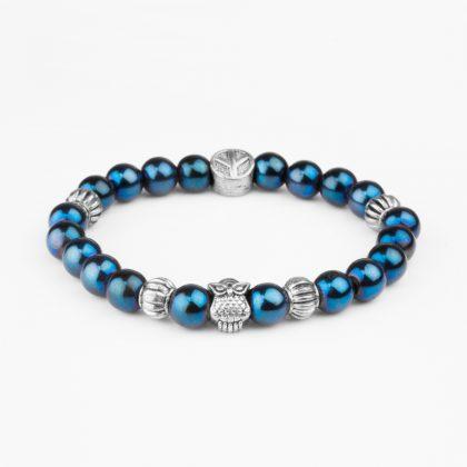 brățară cu pietre semipretioase cu hematit albastru si bufniță din inox pentru barbati