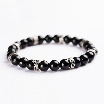 Greek Fret Silver and black Onyx Bracelet