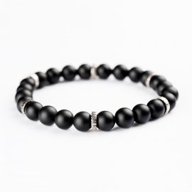 Sterling Silver and black Onyx beads Bracelet