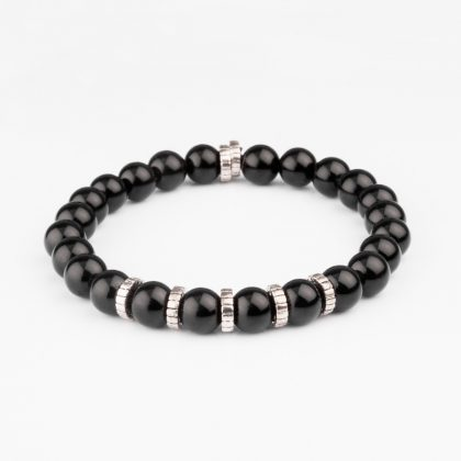 black shiny onyx bracelet with 925 silver
