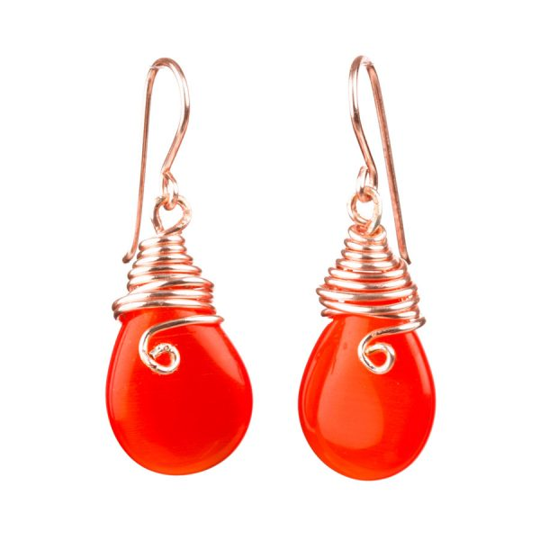 handmade red drop earrings with gold filled wire