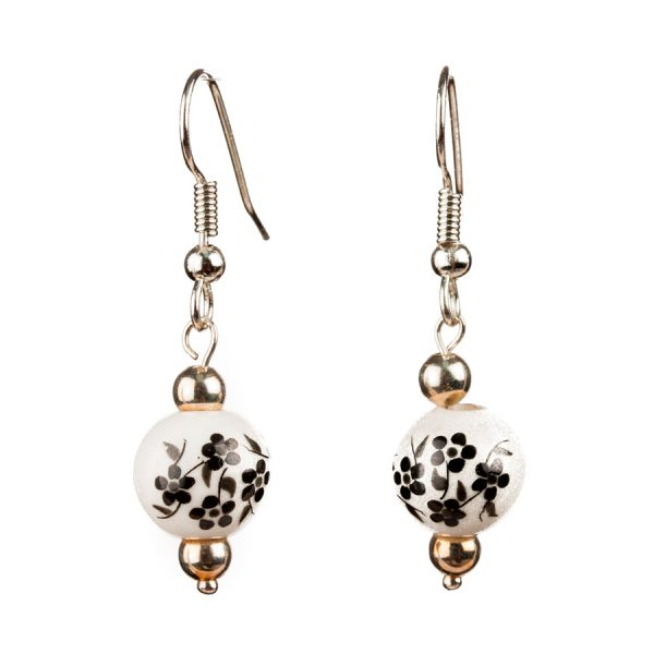 White beads Earrings With Black Flowers