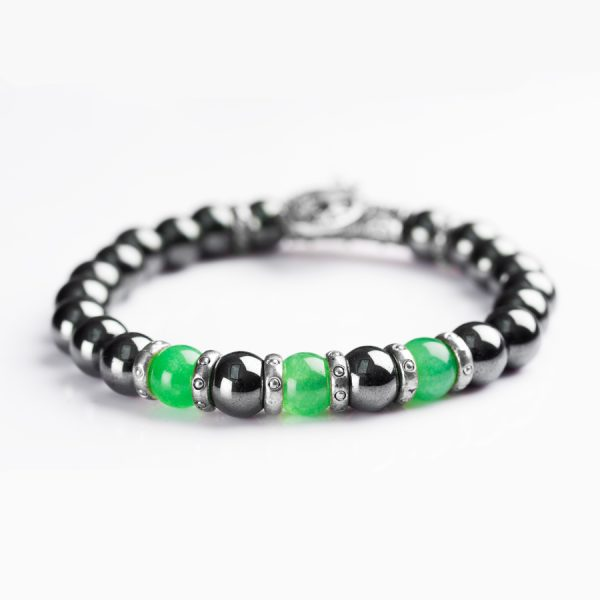 Handmade Hematite stone and Green Onyx Bracelet