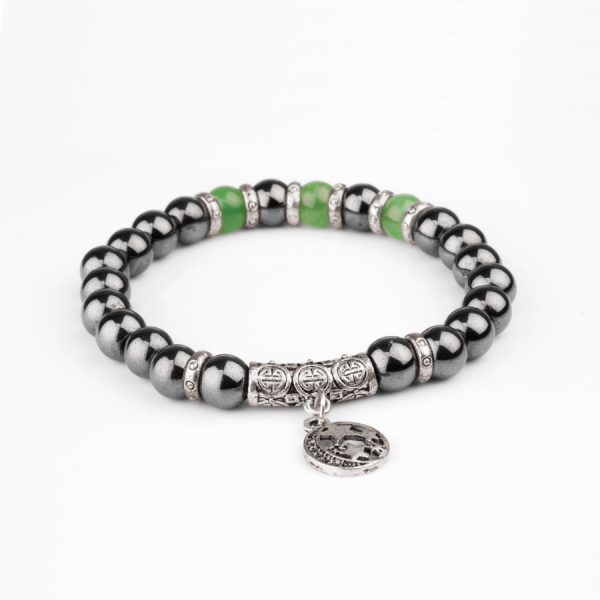 hematite men bracelet with green beads and moon and stars stainless steel