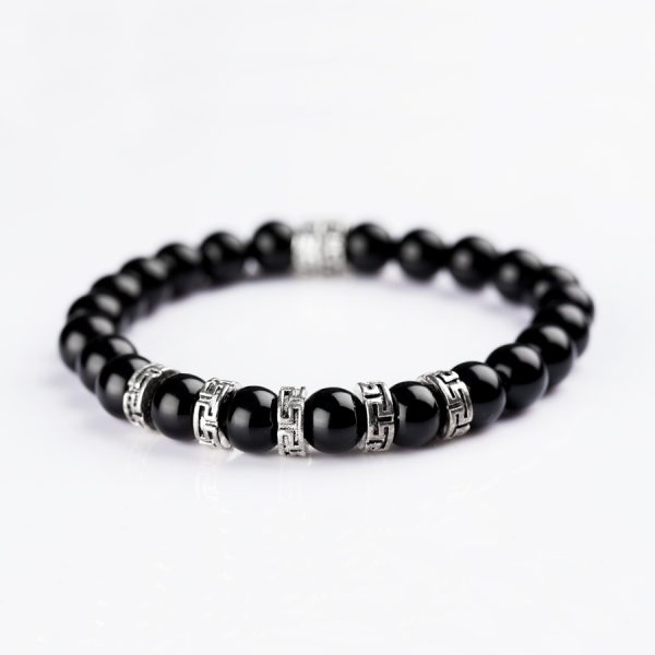 Ancient Meander style Silver and Black Onyx Bracelet