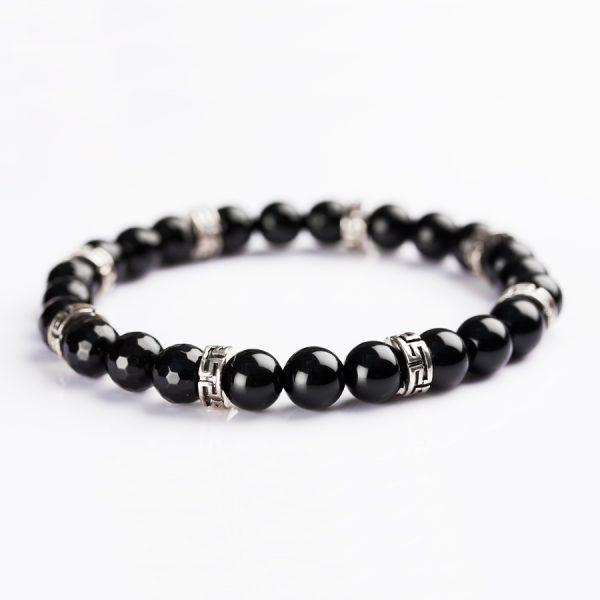 Greek Fret Silver and black Onyx Bracelet