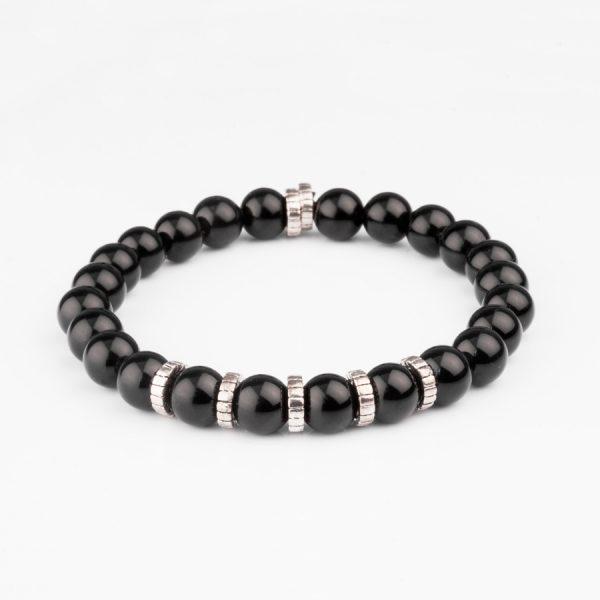 black shiny onyx bracelet with 925 silver
