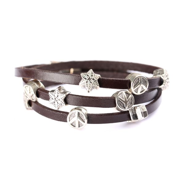 wide leather bracelet with star shaped steel beads