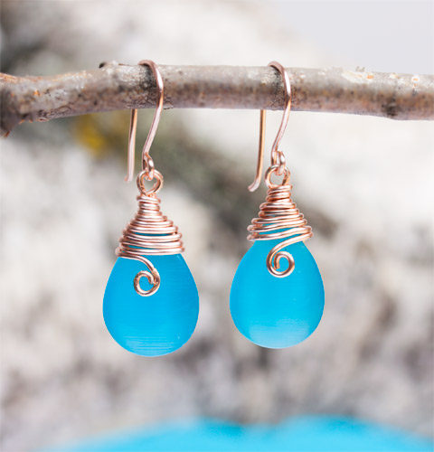 blue dangle earrings with gold hooks