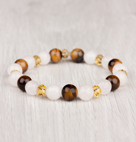 Ladies Bracelet with white beads and tiger eye