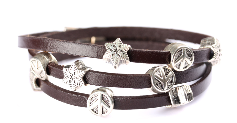 silver elements on men leather bracelet