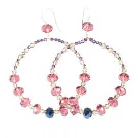 pink and violet hoop earrings