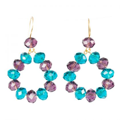 violet and blue beads earrings with gold wire