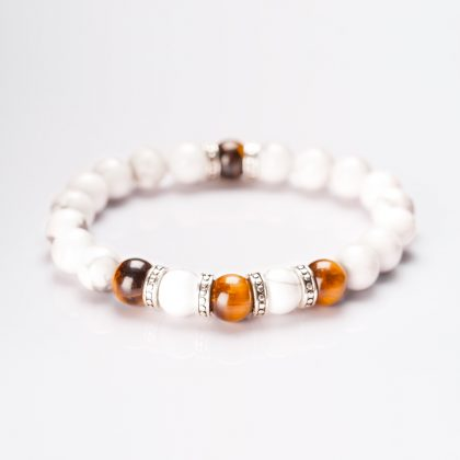 White Jasper beads and Tiger Eye Ladies Bracelet