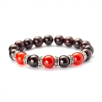 925 silver bracelet with red beads