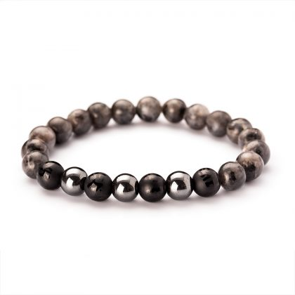 men bracelet with grey, black and shiny beads