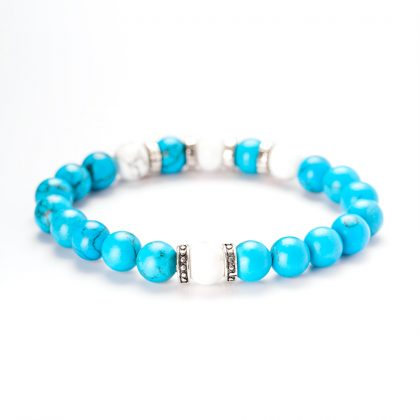 white and blue stones man bracelet