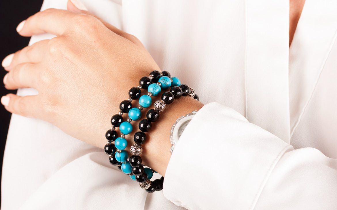 black onyx and Turquoise ladies bracelets on wrist
