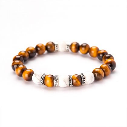 White Jasper and Tiger Eye Bracelet
