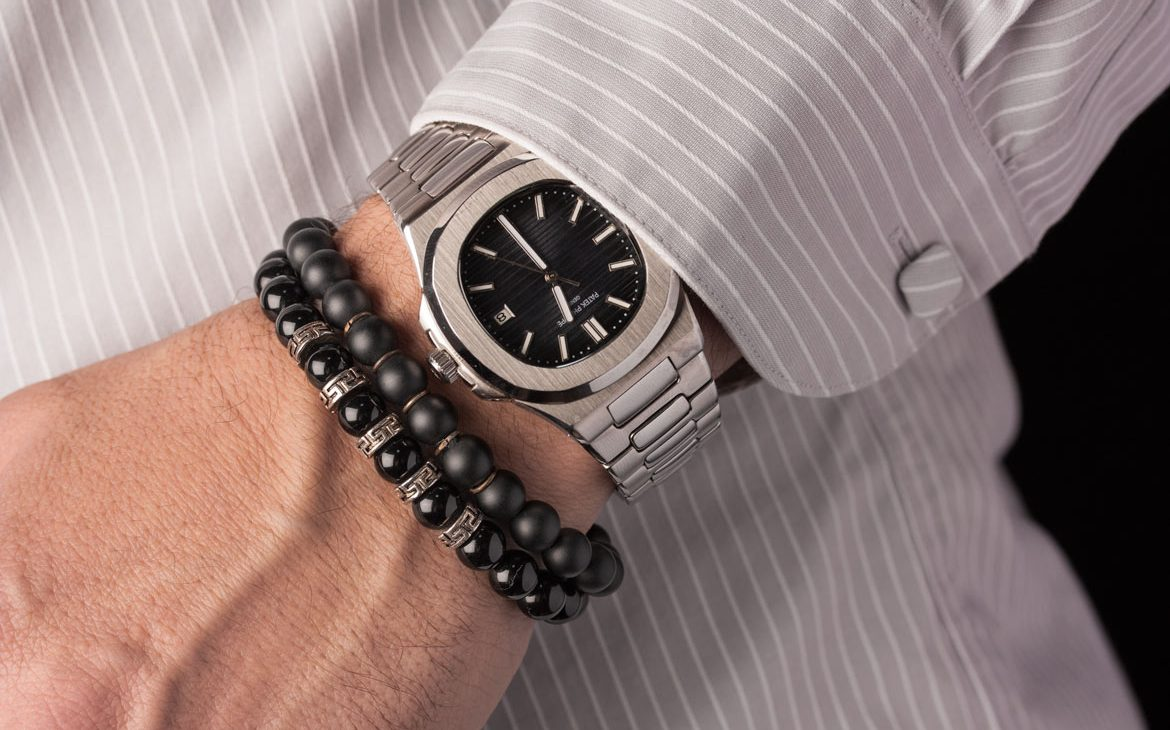 black onyx and sterling silver men bracelets with watch on hand