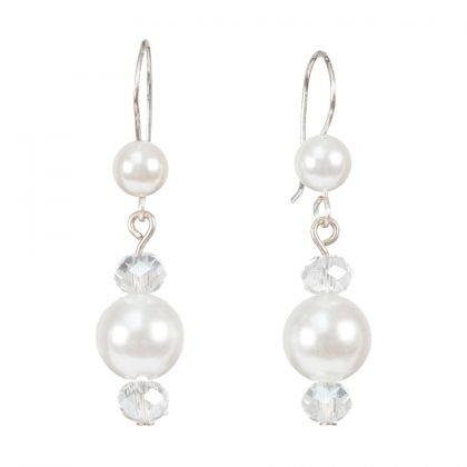 white beads and crystal drop earrings