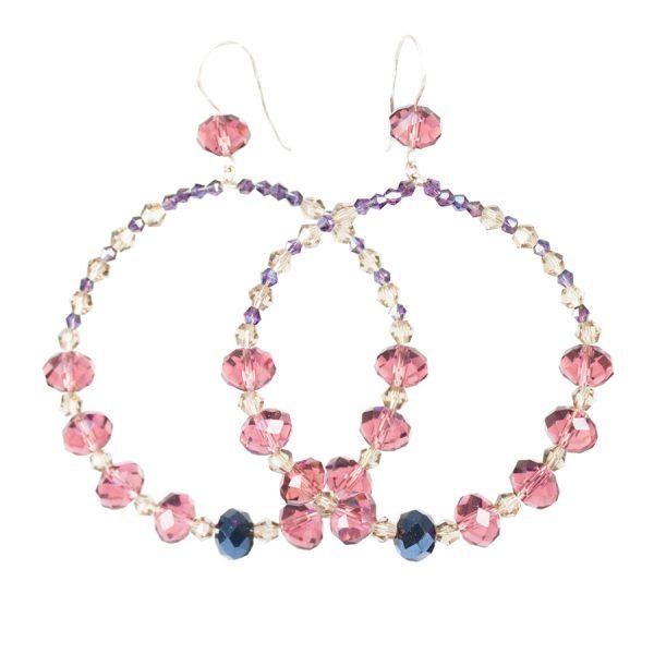 pink and violet hoop earrings
