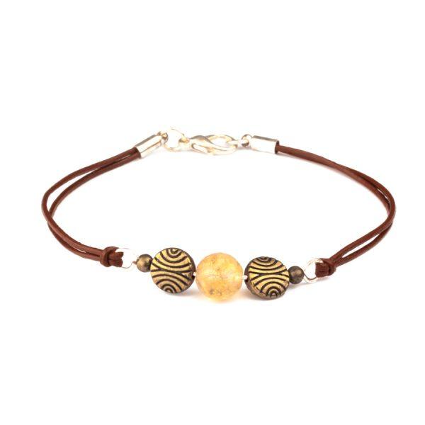 Citrine stone Ladies Bracelet with leather