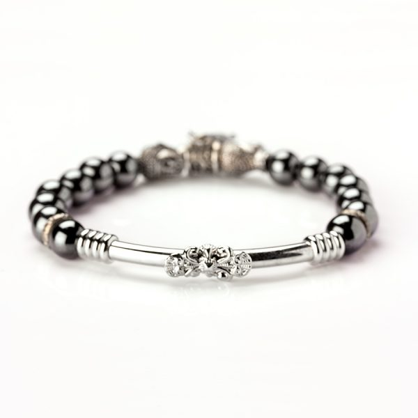 Grey Hematite and stainless Steel Bracelet