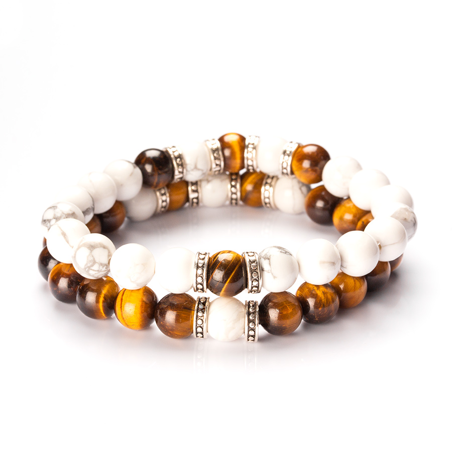 couple bracelets with sterling silver, white jasper and tiger eye beads