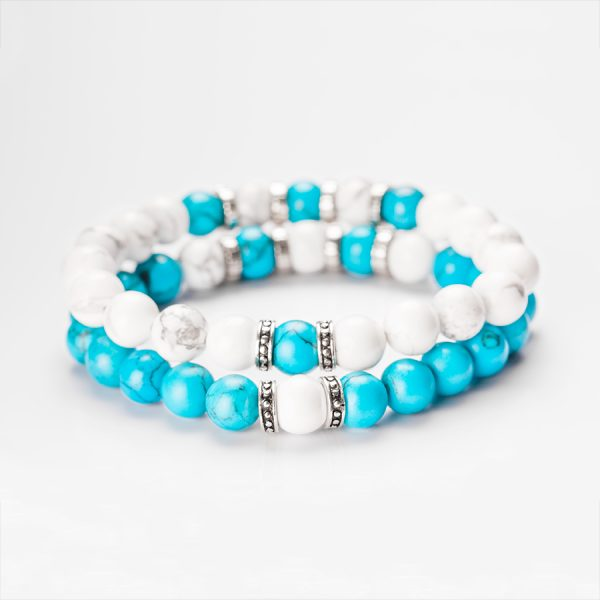 silver, white and blue color couple bracelets