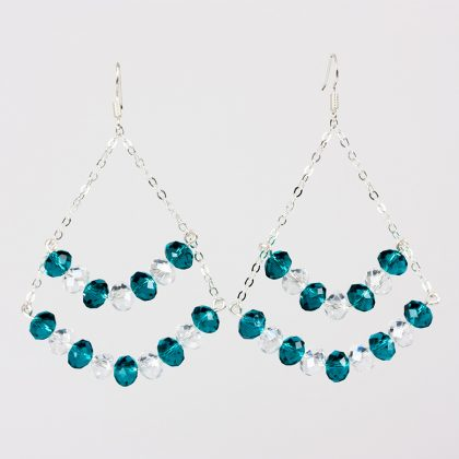 Aqua Crystal and transparent beads Earrings