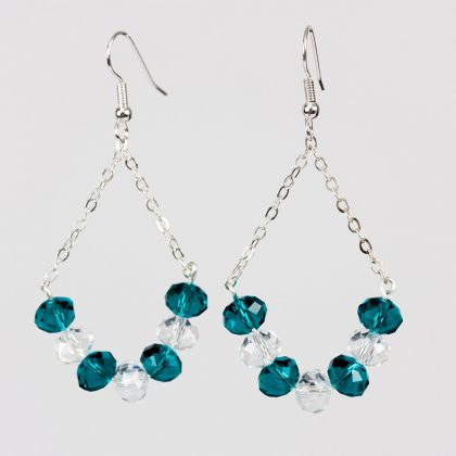 Transparent, White and Aqua Crystal Earrings for ladies