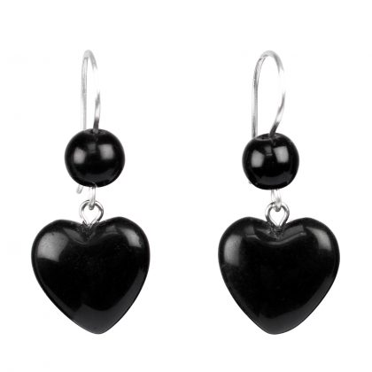 Black Heart Shape Onyx Earrings