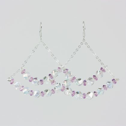 white and pink crystal earrings