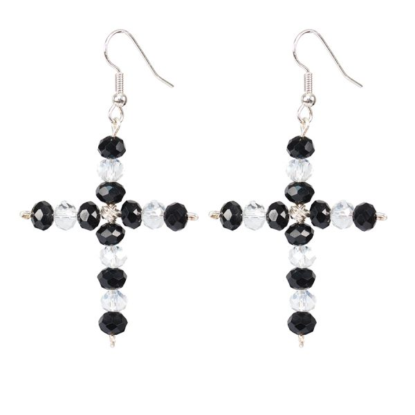 cross shaped earrings with black and white crystals