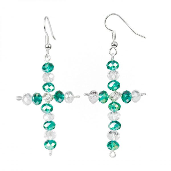 cross shaped earrings with green and white crystals