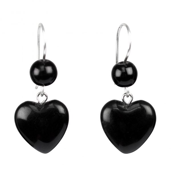 Black Heart Shape Onyx Earrings