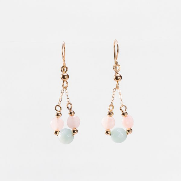 AMAZONITE PEARL BOUCLES of Tanzanian pearls on gold filled earrings,